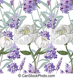 Lavender and peony seamless pattern