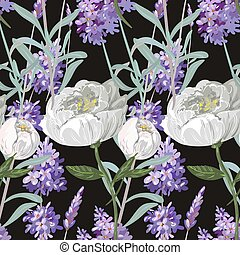 Lavender and peony with leaves seamless pattern on black background