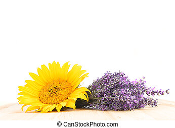 Lavender and sunflower.