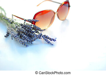 Lavender and sunglasses - A small bunch of lavender with...