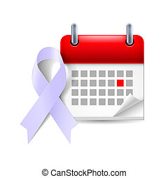Lavender awareness ribbon and calendar