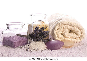 lavender bath items. aromatherapy
