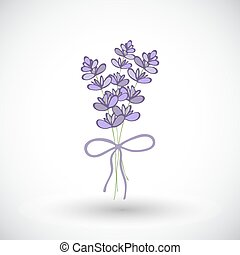 Lavender bouquet sketch. Hand-drawn cartoon flower icon. Doodle drawing.
