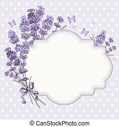 Lavender card - Cute vintage greeting or invitation card...
