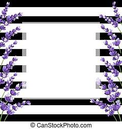 Lavender Card with flowers. Vintage Label