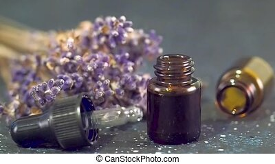 lavender essential oil - Bottle glass with pipette and dry...