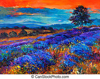 Lavender fields - Original oil painting of lavender fields ...