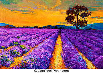 Lavender fields - Original oil painting of lavender fields...