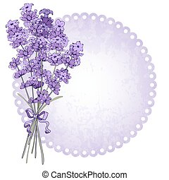 Floral vintage background with fragrant lavender bouquet. Vector illustration isolated on white.