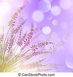Lavender Flower Over Purple Bokeh Background