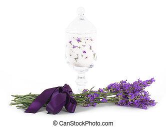 Lavender flower with bath salts