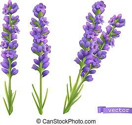 Lavender flowers. 3d vector realistic set
