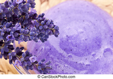 Lavender flowers and jar of glass with peeling