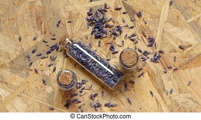 Lavender flowers in a glass bottle