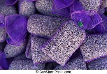 Lavender flowers in mesh pouches.