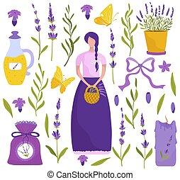 Lavender flowers, set of icons vector illustration