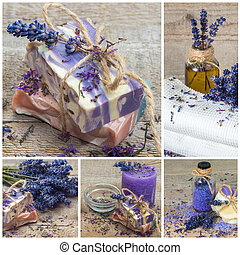 Lavender handmade soap. Collage.