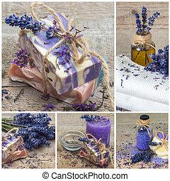 Lavender handmade soap. Collage.