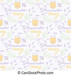 Lavender honey. Hand-drawn seamless cartoon pattern with calligraphy, bees, florals and jars. Vector illustration.