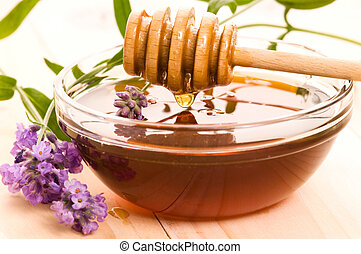 lavender honey with fresh flowers. sweet food