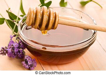 lavender honey with fresh flowers. sweet food