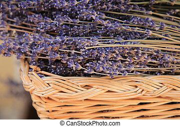 Lavender in a wicker basket