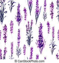 Lavender in Provence Field Seamless Pattern.