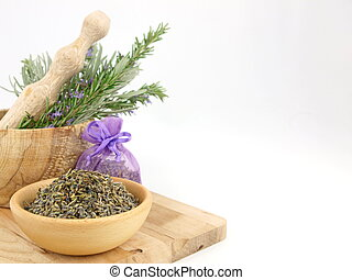 Lavender in wooden mortar with pestle