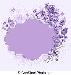 Lavender label - Gentle vintage label with hand drawn floral...