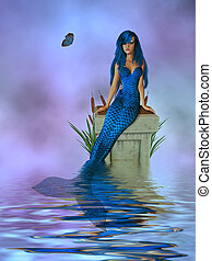 Lavender Mermaid - Mermaid sitting on a pedestal with...