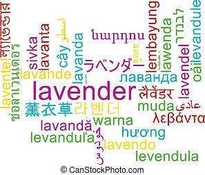 Lavender multilanguage wordcloud background concept