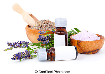 Lavender oil, lavender bath salt on white background