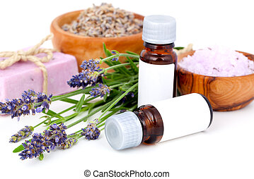 Lavender oil, lavender bath salt, soap on white background
