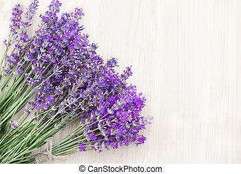 Lavender on a wooden desk.