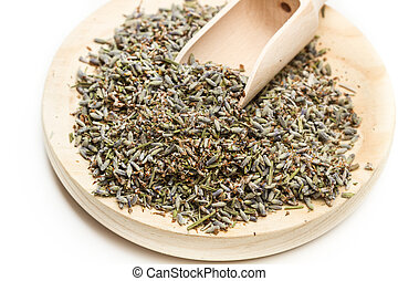Lavender on a wooden plate
