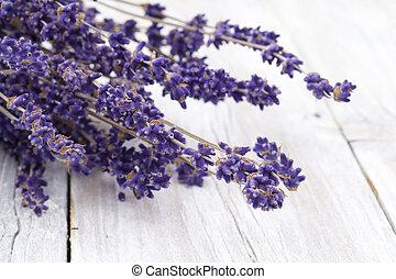 Lavender on rustic wood - Lavender on wood
