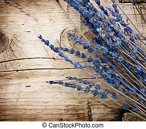 Lavender over wood background. With copy-space
