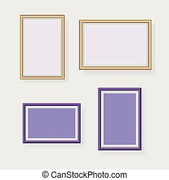 Lavender photo frames decorated in wall