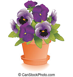 Lavender, Purple Pansies, Flowerpot