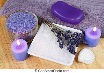 Spa resort therapy composition - dried lavender flowers, candles and salt crystals. Afternoon relax
