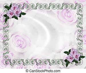 Lavender roses wedding invitation