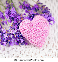 Lavender sachet and bunch on the crochet doily