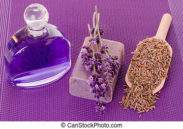 Lavender scent - Bath essence and soap with lavender over ...