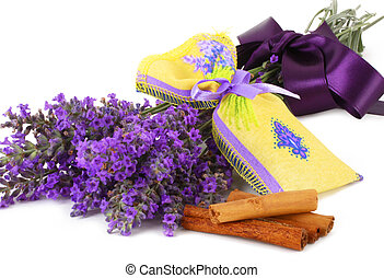 Lavender scented sachets on white background