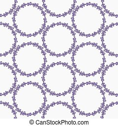 Lavender. Seamless pattern with flower wreaths on the white background. Hand-drawn original background.