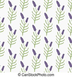 Lavender. Seamless pattern with flowers on the white background. Hand-drawn original background.