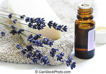Bar of natural aromatherapy soap with dried lavender and essential oil