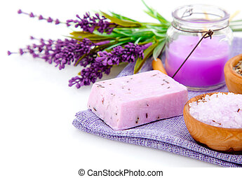 lavender soap, bath salt and candle isolated on white background