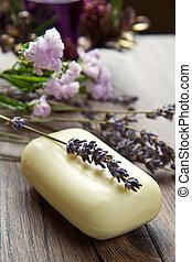 Lavender soap - lanvander soap with flower on wooden...