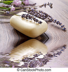 Lavender soap - lanvander soap with flower on wooden ...